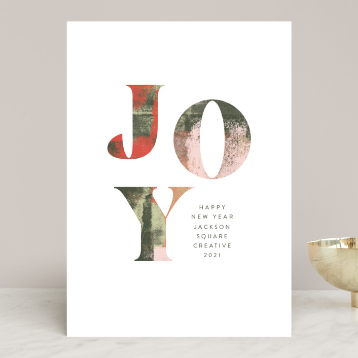 """Abstract Joy"" - Business Holiday Cards in Evergreen by Anna Elder."