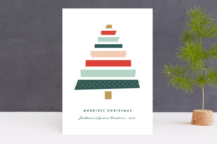 """Paper Tree"" - Business Holiday Cards in Christmas Tree by Erica Krystek."