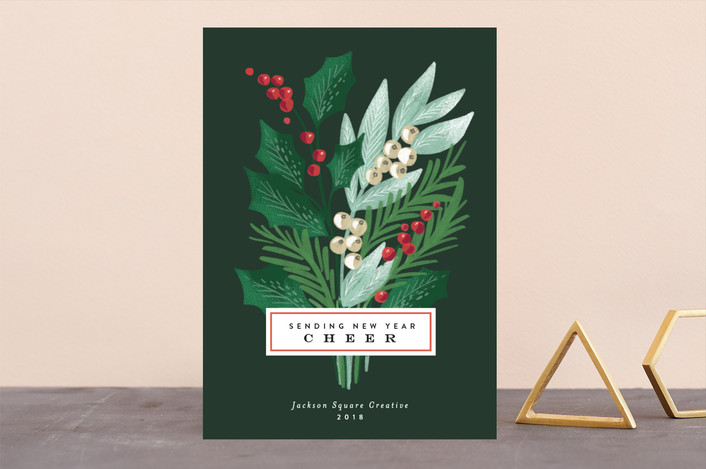 """""""Holiday Pine Bouquet"""" - Business Holiday Cards in Pine by Alethea and Ruth."""