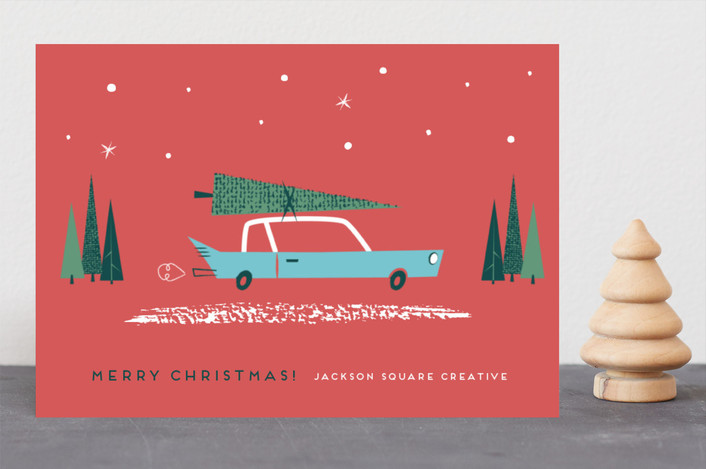 """""""Dashing Through the Snow"""" - Vintage Business Holiday Cards in Berry by Shannon Hays."""