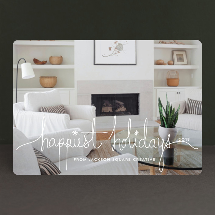 """""""Holiday Revelry"""" - Business Holiday Cards in Frost by Design Lotus."""