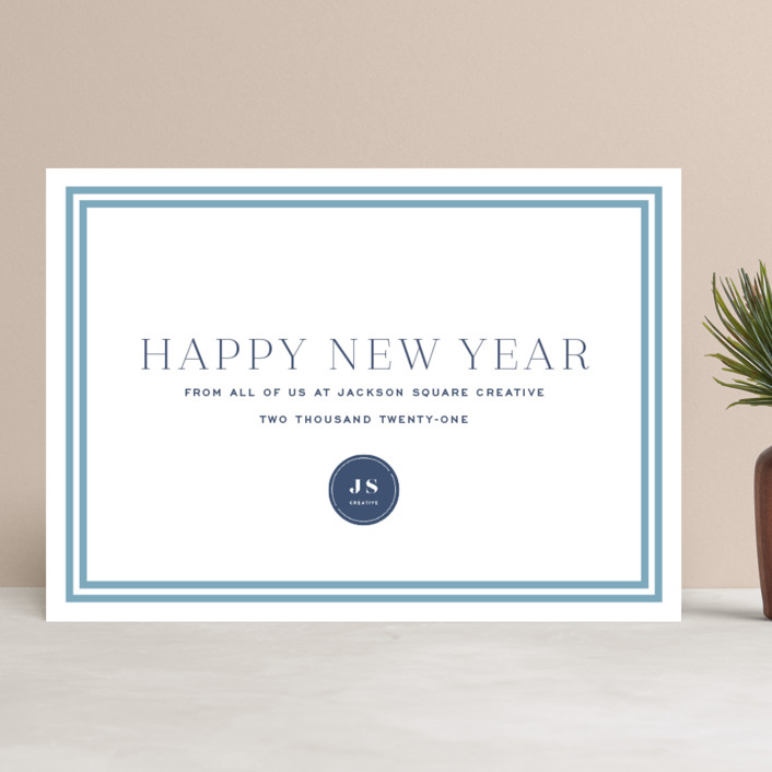 """Proper"" - Business Holiday Cards in French Blue by Toast & Laurel."