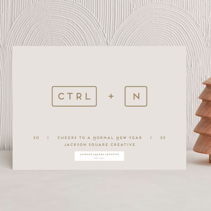 """""""New Year Shortcut"""" - Funny, Modern Business Holiday Cards in Toffee by Gwen Bedat."""
