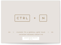 This is a beige business holiday card by Gwen Bedat called New Year Shortcut with standard printing on signature in standard.