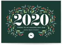 This is a green business holiday card by Jennifer Postorino called A Beautiful Year with standard printing on signature in standard.