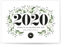 This is a white business holiday card by Jennifer Postorino called A Beautiful Year with standard printing on signature in standard.