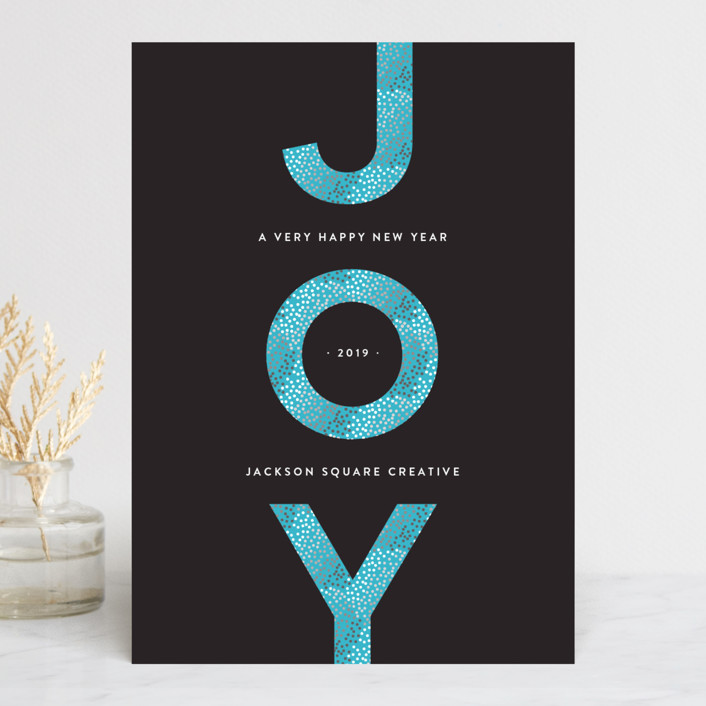"""""""Vertical Joy"""" - Business Holiday Cards in Aqua by Melissa Casey."""