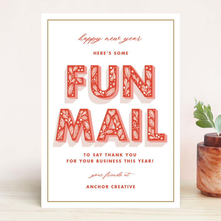 """Fun Mail"" - Business Holiday Cards in Cardinal by Paper Raven Co.."