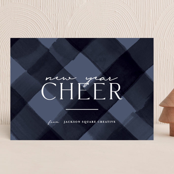 """""""Holiday Plaid"""" - Modern Business Holiday Cards in Winter Sky by Rebecca Durflinger."""