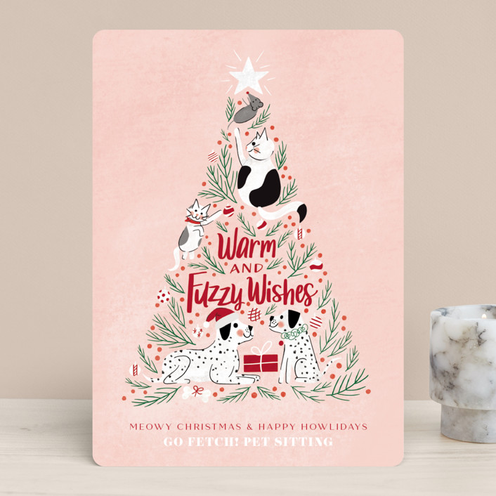 """""""Warm and fuzzy wishes"""" - Bohemian Business Holiday Cards in Blush by Cindy Reynolds."""