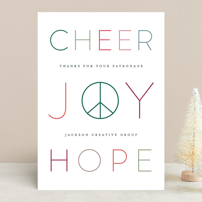 """Peace Joy Hope"" - Business Holiday Cards in Cranberry by Hooray Creative."