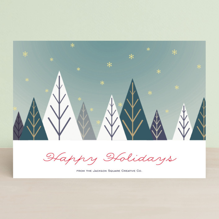 """Deco Forest"" - Vintage, Vintage Business Holiday Cards in Holiday Pine by Carmen Guedez."