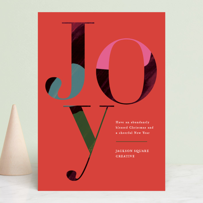 """""""Joyful Hues"""" - Modern Business Holiday Cards in Rouge by Jennifer Lew."""