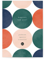 This is a green business holiday card by Kelly Schmidt called Circles with standard printing on signature in standard.