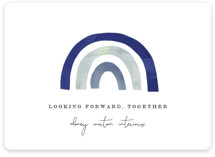 This is a blue business holiday card by Sara Hicks Malone called together rainbow with standard printing on signature in standard.