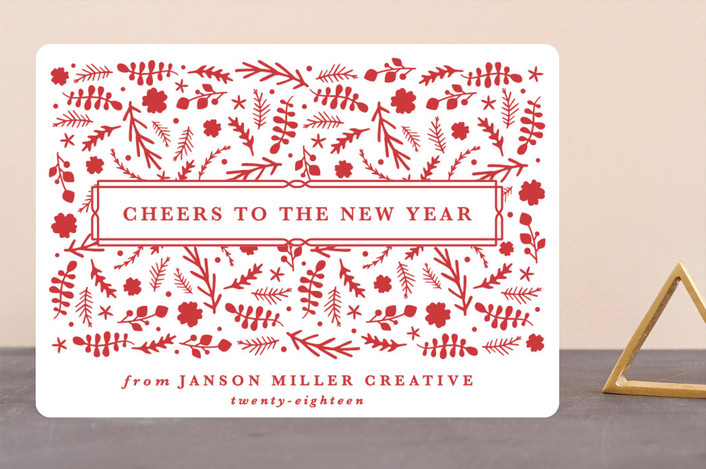"""""""Festive Branches"""" - Bohemian Business Holiday Cards in Holly by Olivia Raufman."""