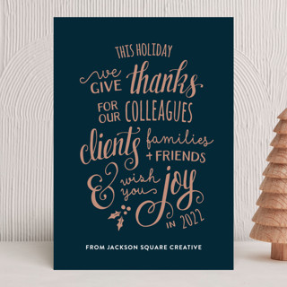 Lettered Thanks Business Holiday Cards