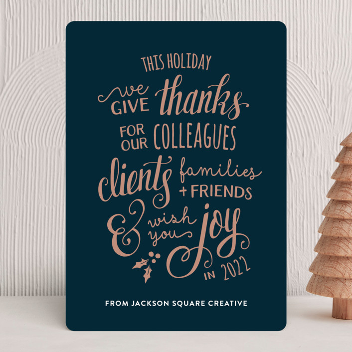 """""""Lettered Thanks"""" - Bohemian Business Holiday Cards in Deep Sea by Dawn Jasper."""