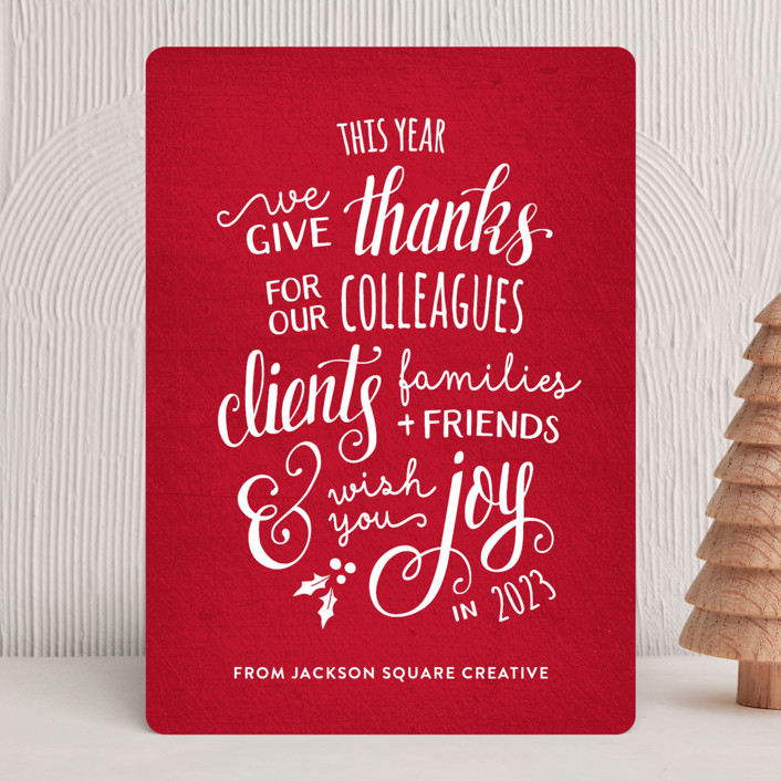 """""""Lettered Thanks"""" - Bohemian Business Holiday Cards in Santa Suit by Dawn Jasper."""