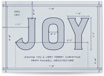 This is a blue business holiday card by Amy Payne called Joy Plans with standard printing on signature in standard.