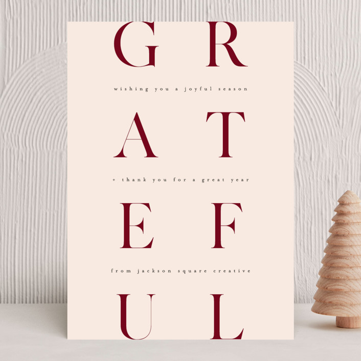 """""""Minimal Gratitude"""" - Business Holiday Cards in Berry by Kelly Schmidt."""