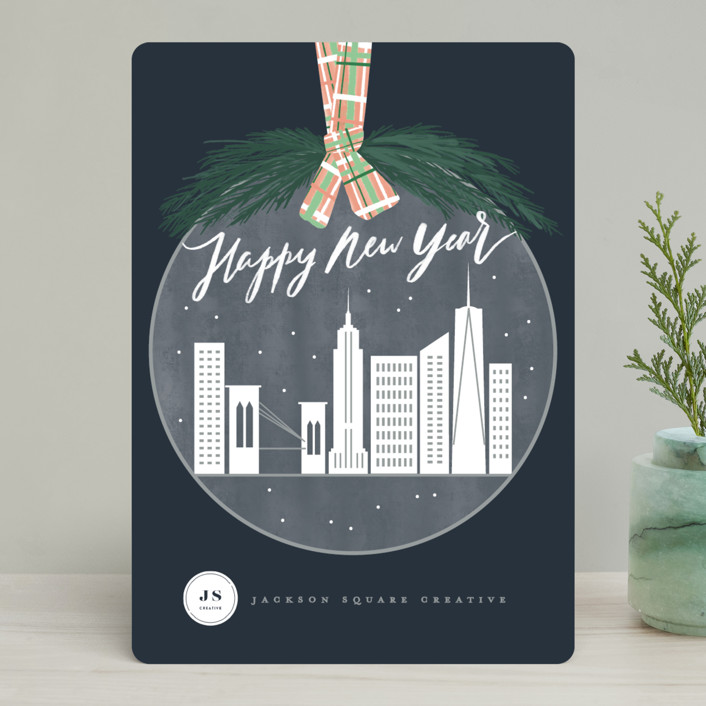 """""""City ornament"""" - Business Holiday Cards in Navy by Creo Study."""