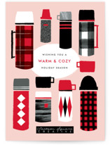 This is a red business holiday card by Ekko Studio called Warm and Cozy with standard printing on signature in standard.