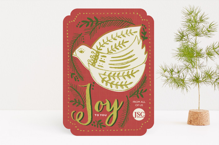 """""""Folksy Bird Corporate Card"""" - Bohemian, Vintage Business Holiday Cards in Coral by Brooke Bristow."""