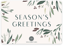 This is a green business holiday card by Nicoletta Savod called Gracious with standard printing on signature in standard.