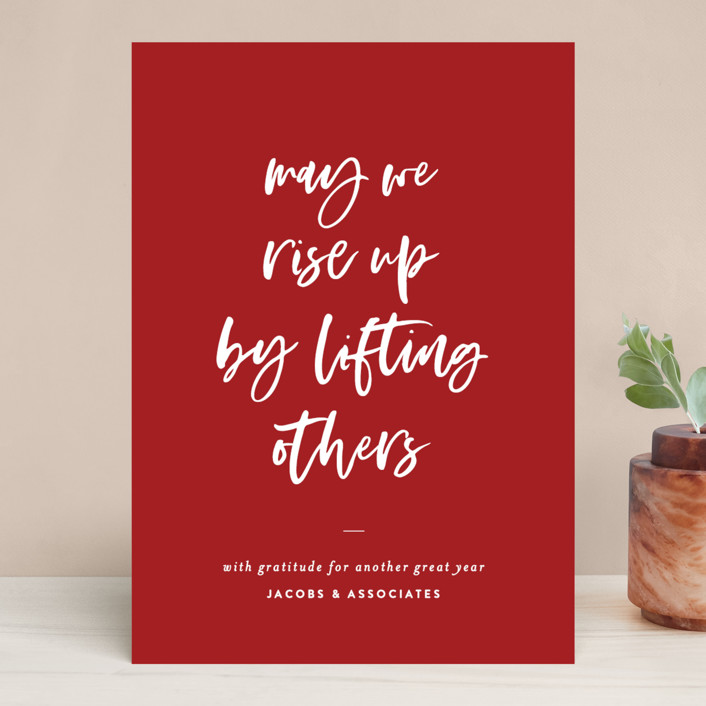 """""""Rise Up"""" - Business Holiday Cards in Holly by Sara Hicks Malone."""