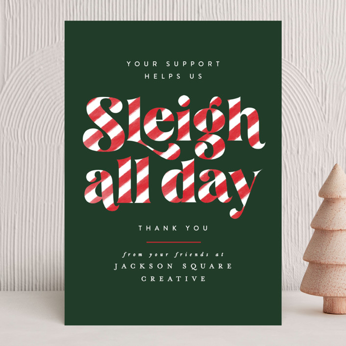 """""""Sleigh All Day"""" - Vintage Business Holiday Cards in Candy Cane by Ally Madison."""