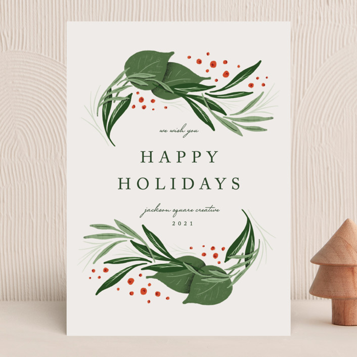 """Classic holiday"" - Business Holiday Cards in Mist by Erin L. Wilson."
