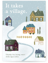This is a green business holiday card by Bethany Anderson called A Village with standard printing on signature in standard.