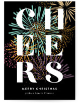 This is a black business holiday card by Robert and Stella called Firework Type with standard printing on signature in standard.