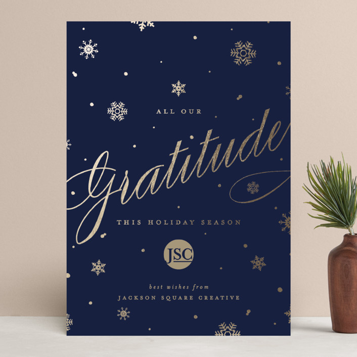 """""""Shimmering Snow"""" - Vintage Business Holiday Cards in Navy by Pistols."""