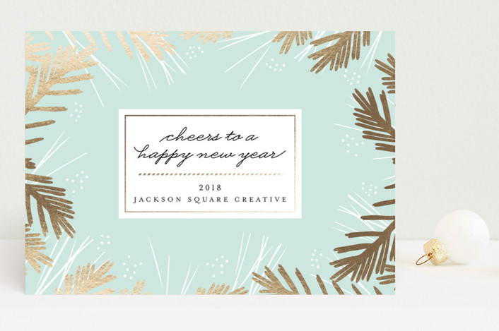 """Shiny Pine"" - Business Holiday Cards in Frost by Kristie Kern."