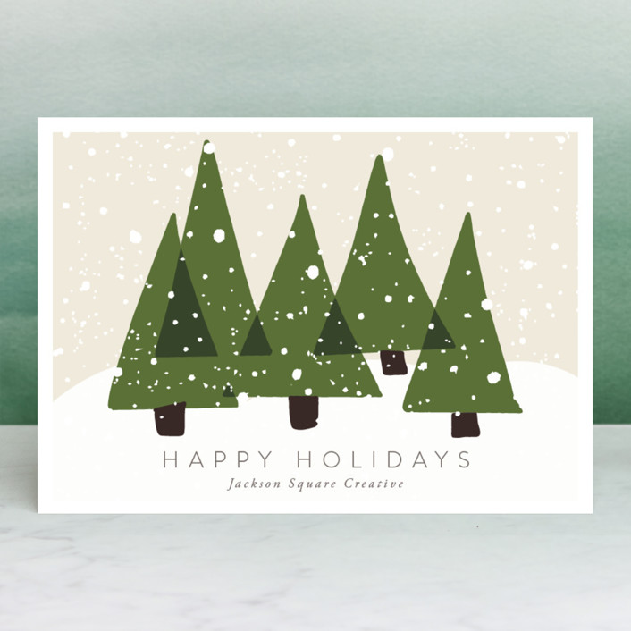 """""""Christmas Trees"""" - Business Holiday Cards in Olive by Roopali."""