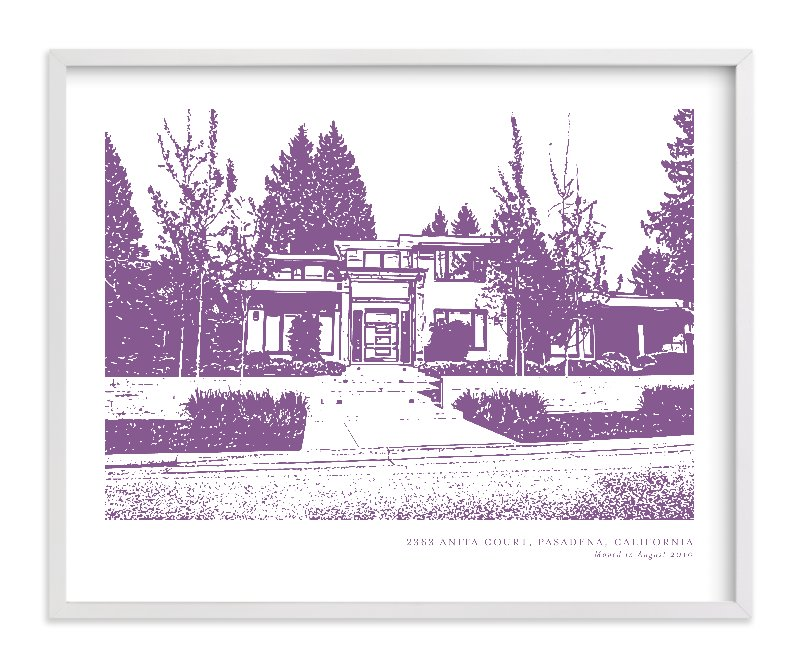 This is a purple home wall art by Minted called Custom House Portrait Art with standard.