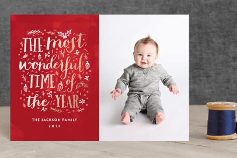 The Most Wonderful Time of the Year Foil-Pressed Holiday Petite Cards