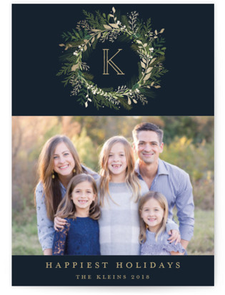 Greenery Wreath Foil-Pressed Holiday Petite Cards