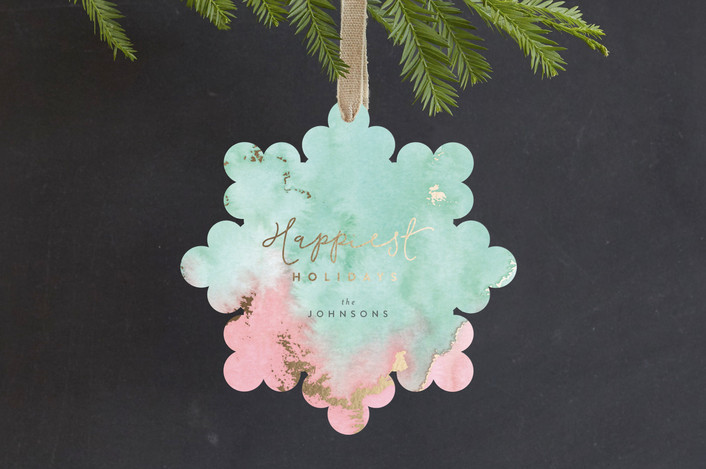 """Shimmering Holidays"" - Bohemian Foil-pressed Holiday Ornament Cards in Mistletoe by Four Wet Feet Studio."
