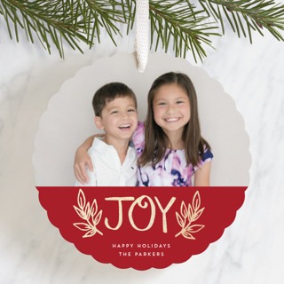 Colorblock Joy Foil-Pressed Holiday Ornament Cards