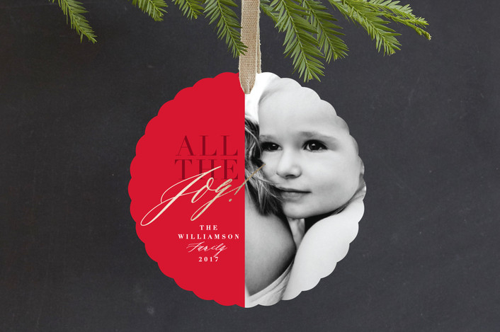 """""""All The Joy"""" - Foil-pressed Holiday Ornament Cards in Cherry by Keen Peachy."""