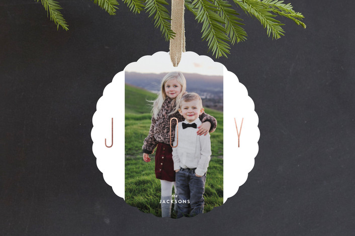 """Pillars of Joy"" - Foil-pressed Holiday Ornament Cards in Rose Gold by Carrie ONeal."