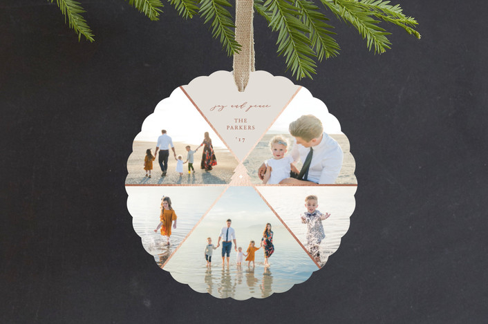 """""""Geo Tree"""" - Modern Foil-pressed Holiday Ornament Cards in Smoke by fatfatin."""