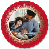 Splattered Frame Foil-Pressed Holiday Ornament Cards