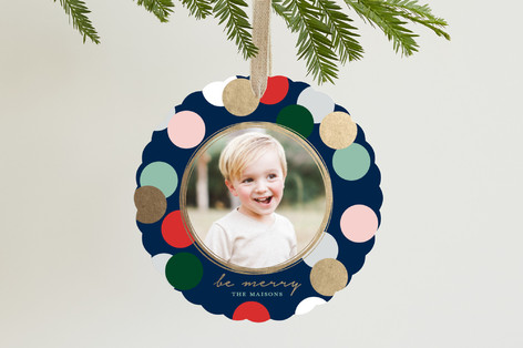 Merry Confetti Foil-Pressed Holiday Ornament Cards