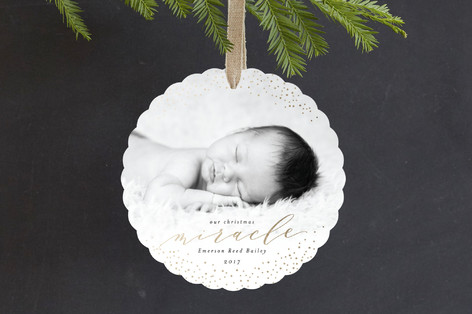 Our Christmas Miracle Foil-Pressed Holiday Ornament Cards