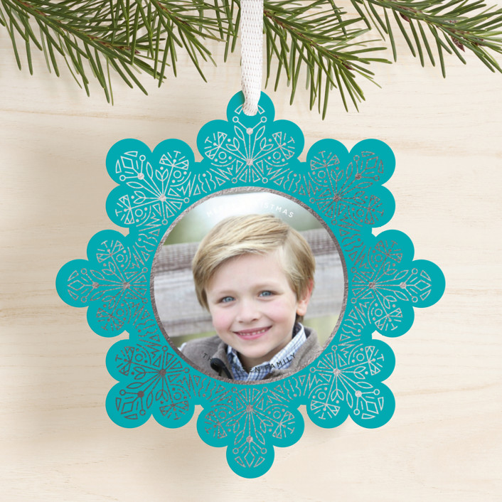 """Shimmery Snowflake"" - Foil-pressed Holiday Ornament Cards in Glacier by Olivia Goree."
