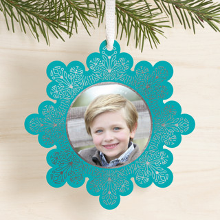 Shimmery Snowflake Foil-Pressed Holiday Ornament Cards